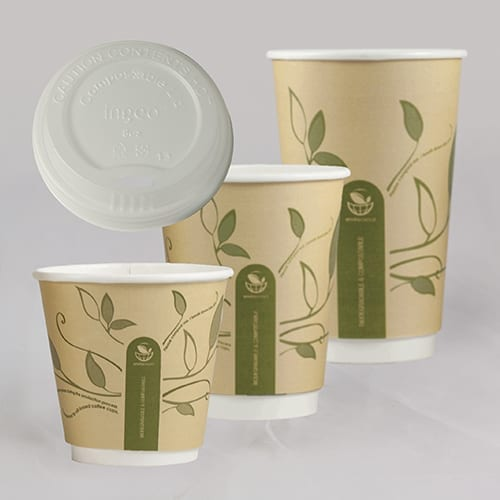 Biodegradable compostable coffee cups
