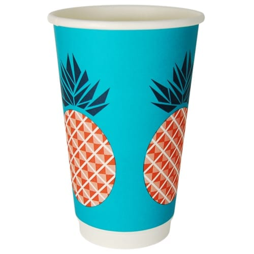 16 oz double wall coffee cup compostable and biodegradable pineapple