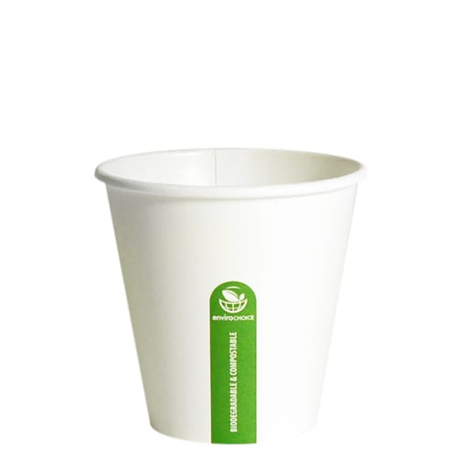 Biodegradable and compostable 8oz super coffee cup white